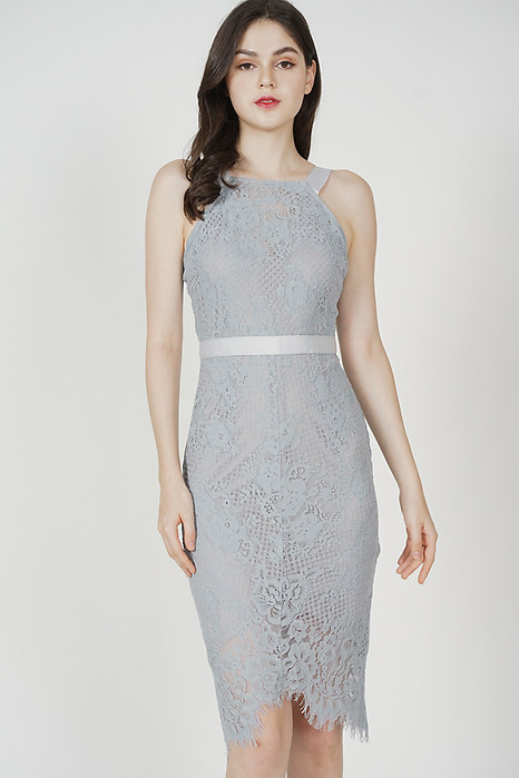 Bridget Lace Dress in Dusty Blue