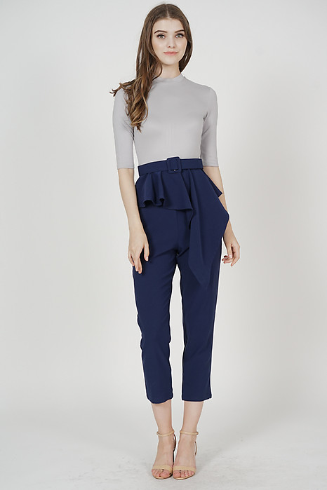 Henley Contrast Peplum Jumpsuit in Grey Midnight
