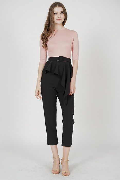 Henley Contrast Peplum Jumpsuit in Pink Black - Arriving Soon