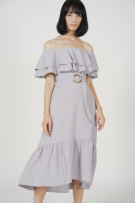 Kaori Ruffled-Hem Dress in Grey - Arriving Soon