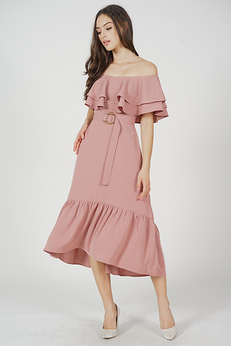 Kaori Ruffled-Hem Dress in Pink