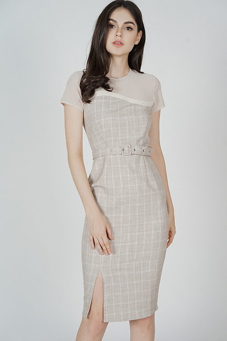 Evonna Midi Dress in Beige - Arriving Soon