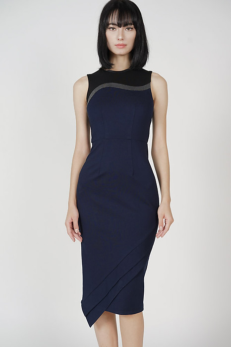 Gerry Contrast Dress in Midnight - Arriving Soon