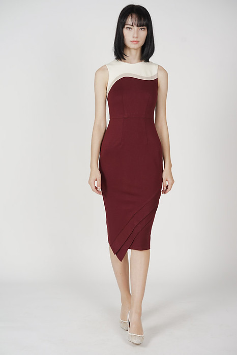 Gerry Contrast Dress in Oxblood - Arriving Soon