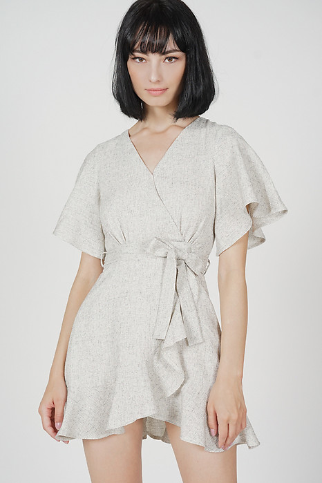 Asher Flutter Ruffled Dress in White