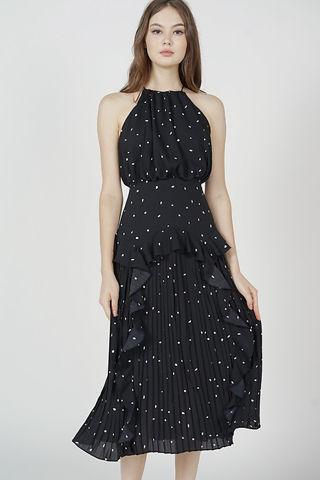 Madeleine Halter Ruffled Dress in Black Polka Dots - Arriving Soon