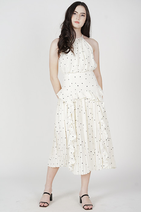 Madeleine Halter Ruffled Dress in White Polka Dots - Arriving Soon