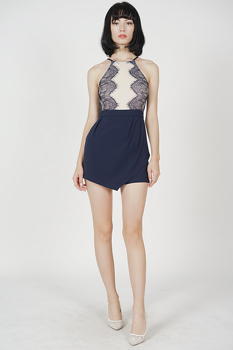 Kevri Lace-Trimmed Romper in Midnight