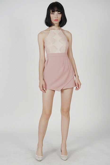 Kevri Lace-Trimmed Romper in Pink - Arriving Soon