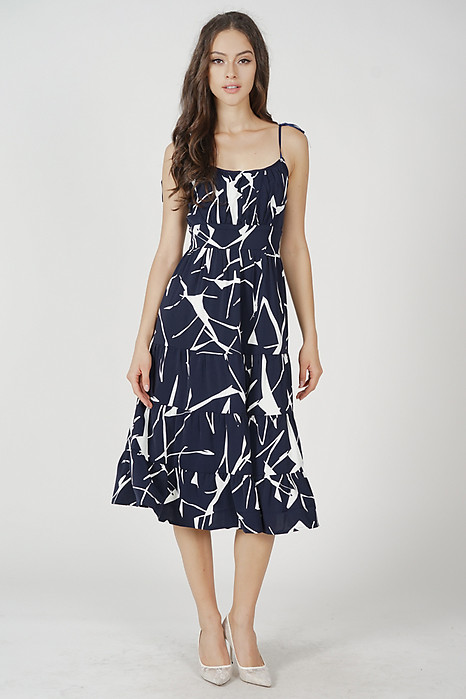 Armo Gathered Dress in Midnight