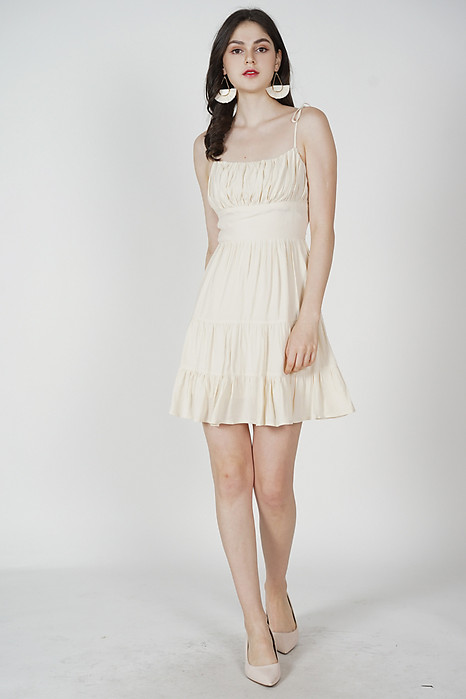 Miriam Gathered Dress in Cream