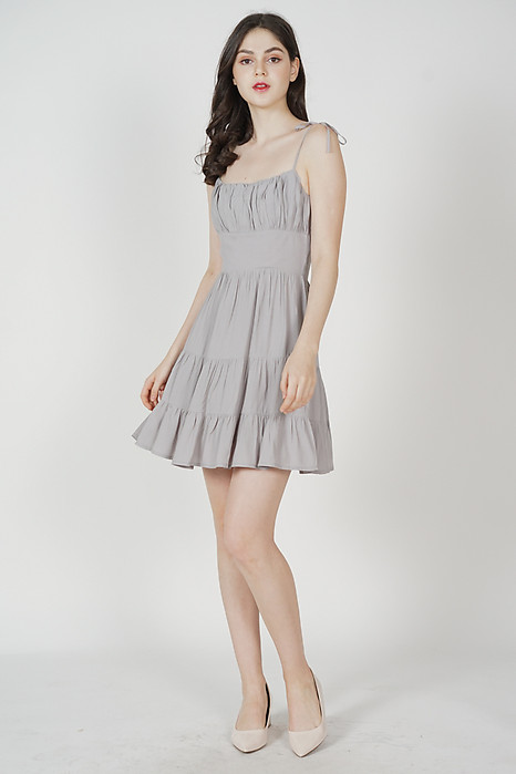 Miriam Gathered Dress in Grey