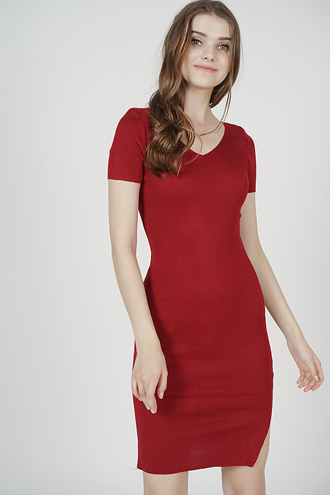 Alisa Knit Dress in Oxblood - Online Exclusive