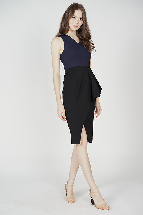 Odell Ruffled Dress in Midnight - Arriving Soon
