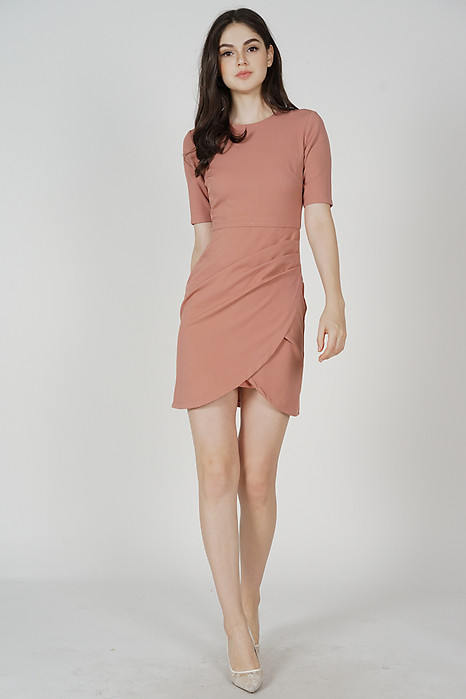 Farica Side Drape Dress in Pink - Arriving Soon