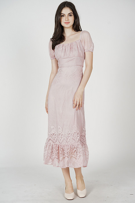 Nahele Lace Dress in Pink