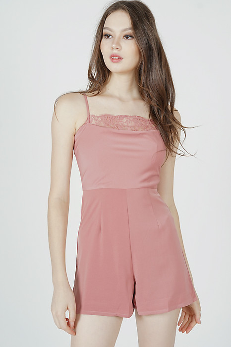 Wendelin Lace-Trimmed Romper in Pink - Arriving Soon