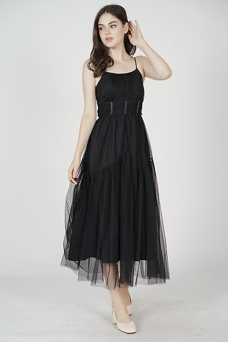 Elenore Gathered Dress in Black