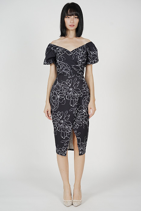 Maci Puffy Dress in Black Floral - Arriving Soon