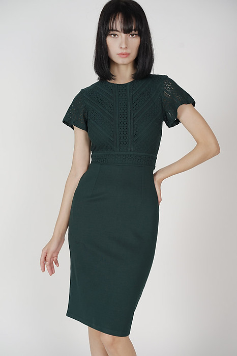 Jazmin Lace Midi Dress in Forest Green - Arriving Soon