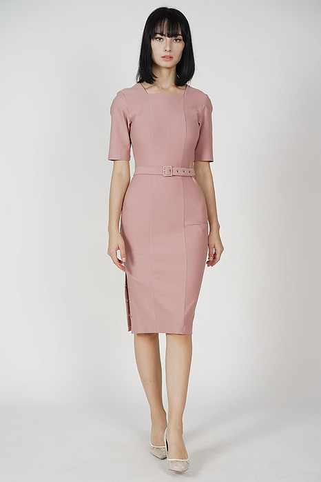 Cornelia Square-Neck Dress in Pink - Arriving Soon