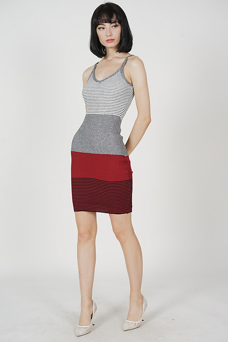 Nalia Cami Knit Dress in Grey Stripes