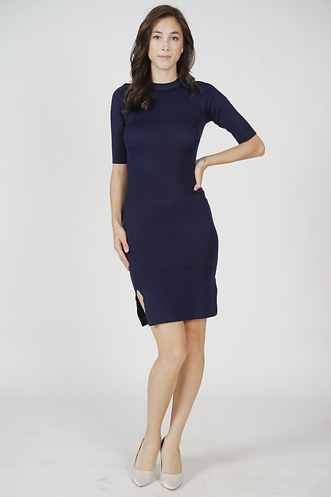 Brinley Sleeved Dress in Midnight - Online Exclusive