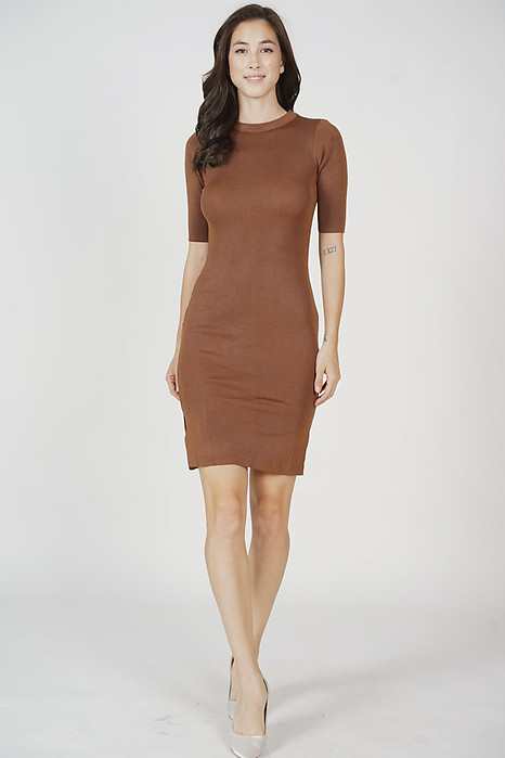 Brinley Sleeved Dress in Mocha - Online Exclusive