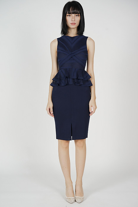 Kamil Criss-Cross Ruffled Dress in Midnight - Arriving Soon