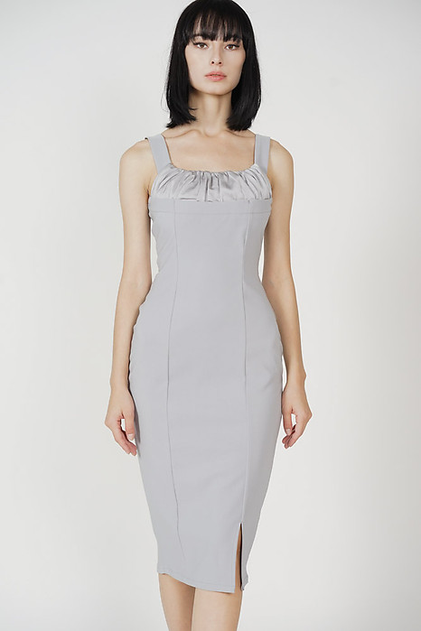 Putria Midi Dress in Ash Blue - Arriving Soon