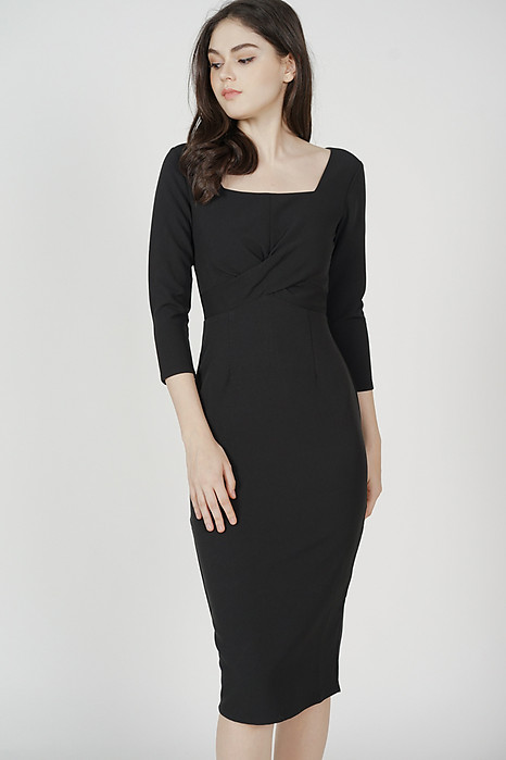 Halley Midi Dress in Black - Arriving Soon