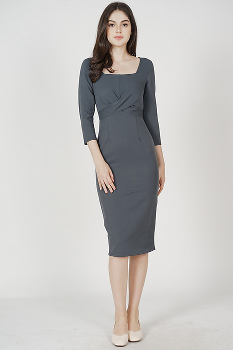 Halley Midi Dress in Grey - Arriving Soon