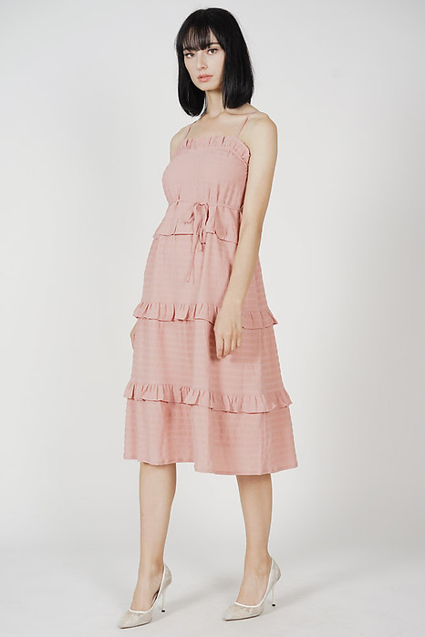 Hina Tiered Ruffled Dress in Pink
