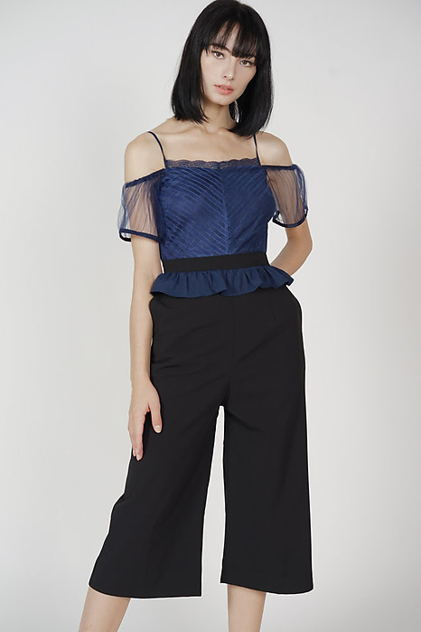 Derua Ruffled Mesh Jumpsuit in Navy