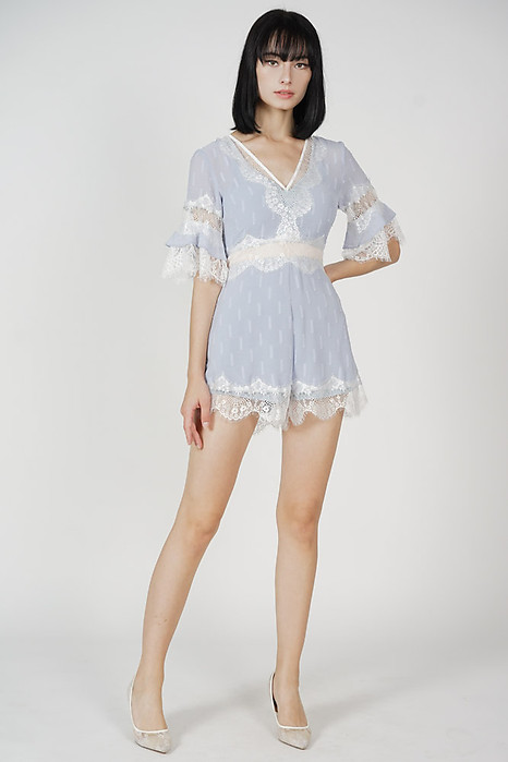 Torfa Lace Romper in Ash Blue