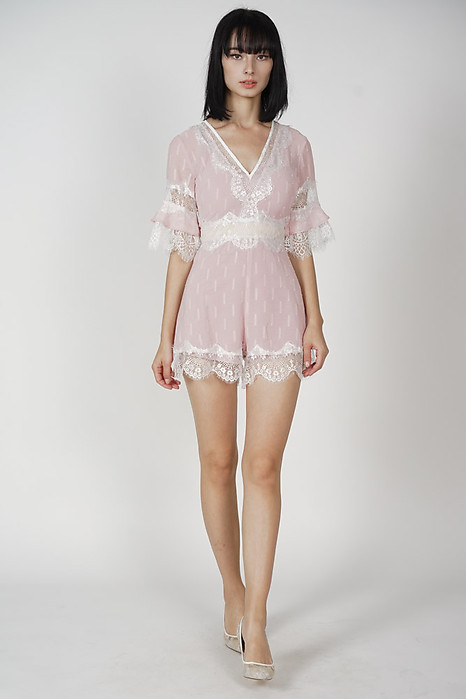 Torfa Lace Romper in Pink