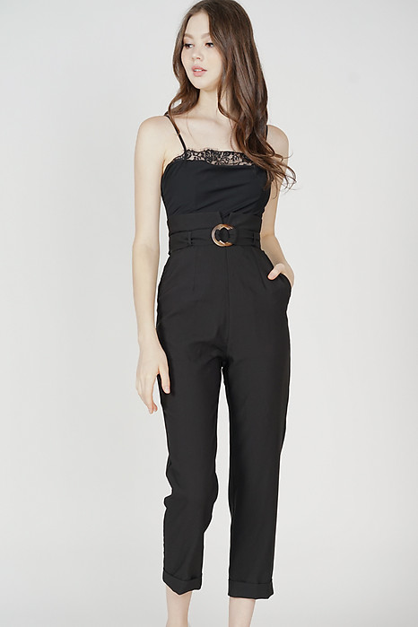 Mieki Lace-Trimmed Jumpsuit in Black
