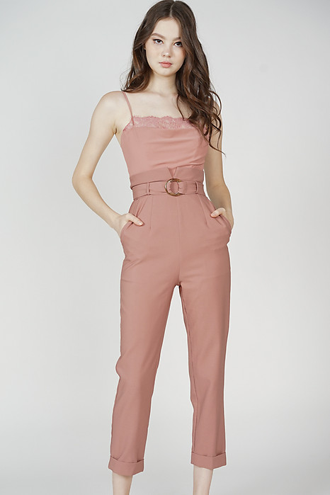 Mieki Lace-Trimmed Jumpsuit in Pink