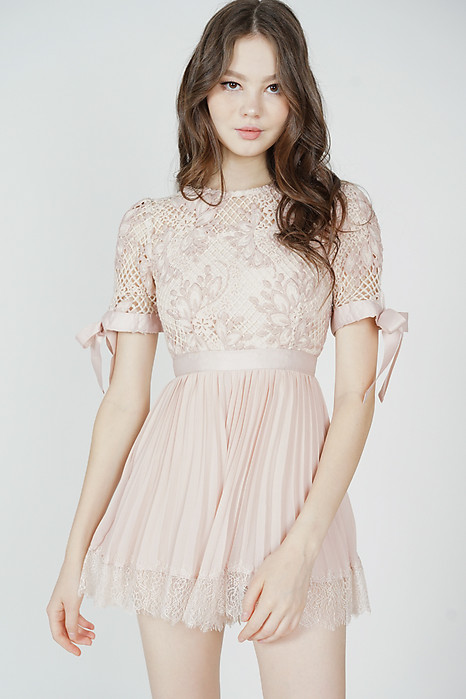 Ruina Pleated Lace Romper in Pink - Arriving Soon