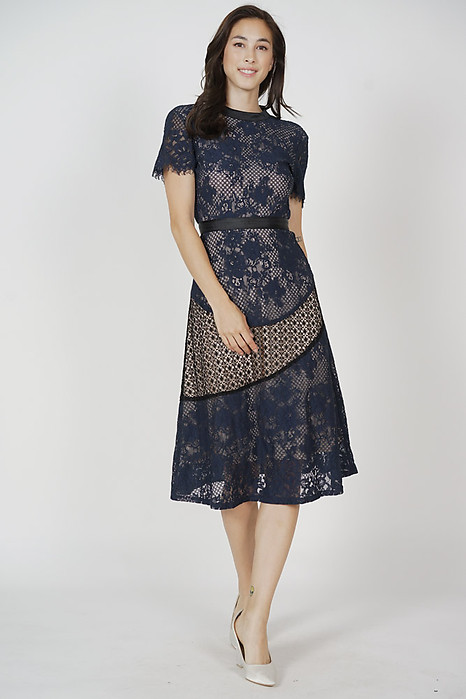 Bathilda Lace Dress in Midnight - Arriving Soon