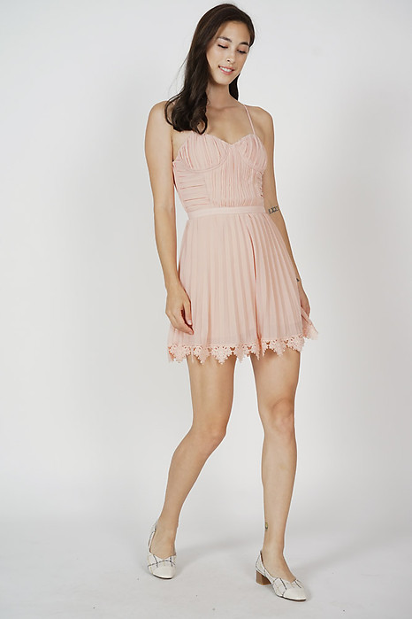 Faegan Pleated Romper in Pink