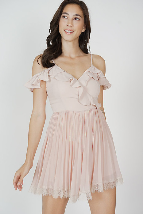 Lafay Ruffled Pleated Romper in Pink