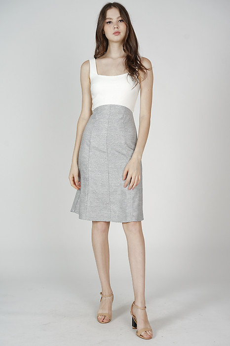 Kasin Contrast Dress in White - Arriving Soon