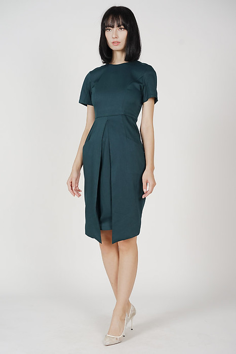 Zoya Pleated Front Dress in Forest Green - Arriving Soon