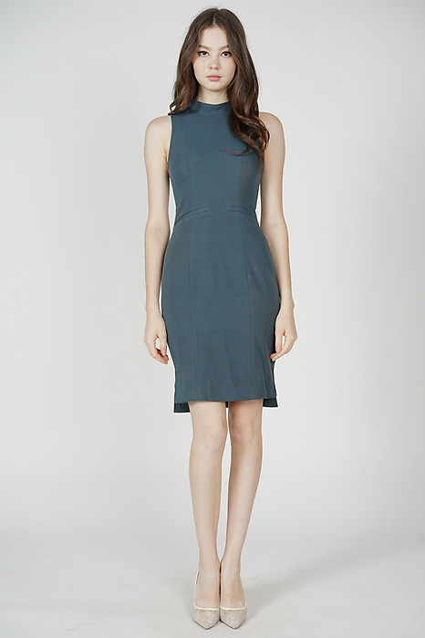 Jabez Midi Dress in Dark Teal