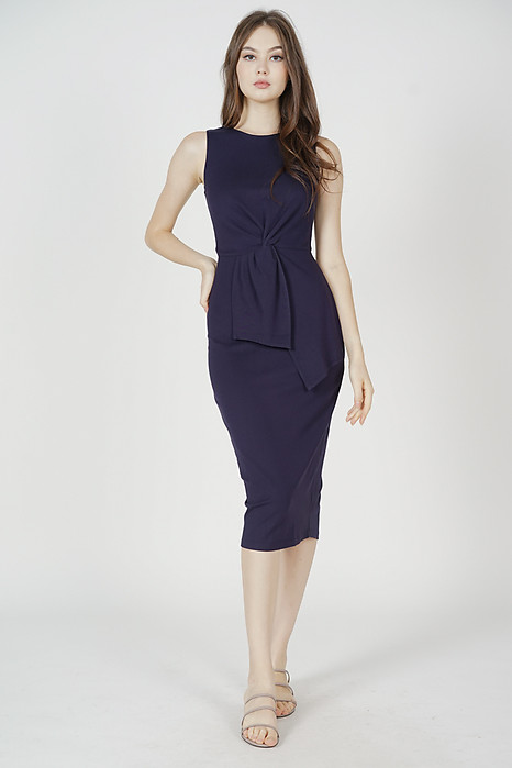Selma Front Knot Dress in Midnight - Arriving Soon