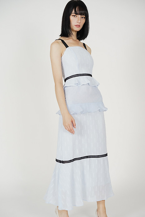 Dagmar Ruffled Dress in Ash Blue - Arriving Soon