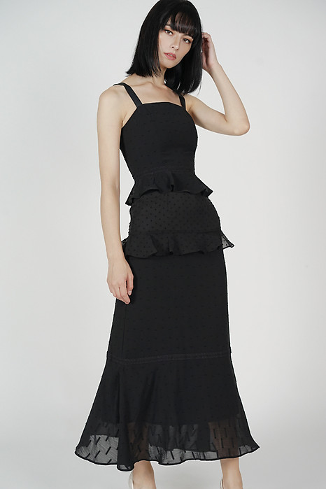 Dagmar Ruffled Dress in Black - Arriving Soon