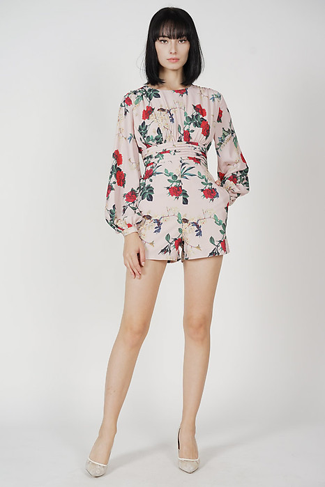 Carey Gathered Romper in Nude Floral - Arriving Soon