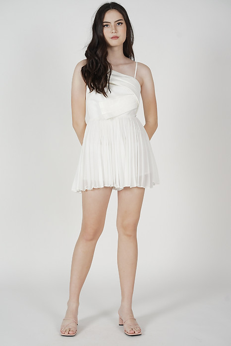 Zann Pleated Romper in White